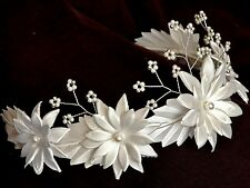 WHITE & SILVER Daisy Flower Girl Headband Holy Communion Floral Tiara Headdress