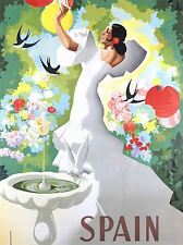 TRAVEL SPAIN FLAMENCO DANCE BIRD BATH ART POSTER PRINT LV4111