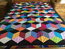 Twin size Tumbling Block Patchwork  quilt #J-34