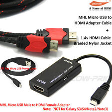 Micro USB to HDMI MHL Video Adapter+Braided HDMI Cable Micro USB Charger Android