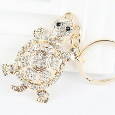 White Tortoise Turtle Charm Rhinestone Crystal Purse Bag Keyring Key Chain Gift