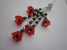 Ladies 16 inch Poppy Necklace, Silver Plated - Red Lucite Flowers