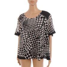 PAUPORTE Top Black & Grey Pattern Sheer Printed Size 2 / UK 16 LJ 201