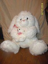 """CALTOY White Bunny Rabbit Momma & Baby Plush 16"""""""