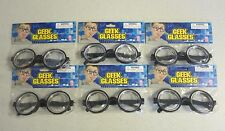6 PAIR KIDS BLACK NERD GLASSES THICK LENS GEEK SHADES COSTUME COKE BOTTLE FRAMES