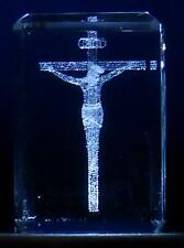 "3D Laser Etched Crystal Glass Crucifix Cross 1 ¼"" x ¾"" x ½"" Gift Box Made USA"