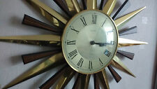 Vintage 1960s 1970s Metamec Gold and Teak effect Sunburst Starburst Wall Clock