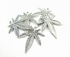 Wholesale lots 5pcs Antique Silver Plated Marijuana Leaf Pot Charm Pendants