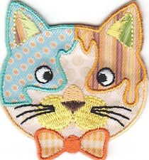 CATS-CALICO CAT FACE w/BOW TIE-Iron On Embroidered Applique/Cats, Pets, Kittens