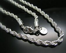 Hot! 1pc 925 Sterling Silver 4mm thick twist rope chain necklace 22 inch