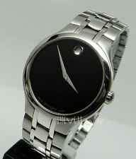 Mens Authentic Swiss Movado Museum 0606367 Stainless Steel Black Dial Watch