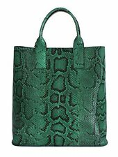 NWT $2800 DOLCE & GABBANA Green Python Snakeskin Leather Hand Shopping Tote Bag