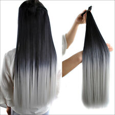 "23"" 140g 7pcs Black Gray Ombre Full Head Hair Clip In Hair Extensions Hairpiece"