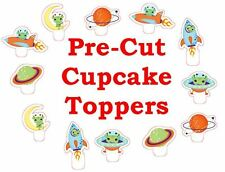 x24 ALIEN SPACE ROCKET EDIBLE wafer paper stand up cup cake toppers PRE-CUT