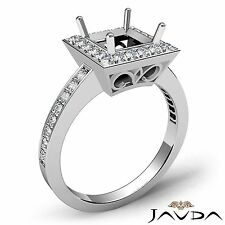0.38Ct Princess Shape Diamond Engagement Semi Mount Platinum Halo Filigree Ring