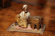 Cold Painted German Moorish Figure on Rug with Table, Spelter