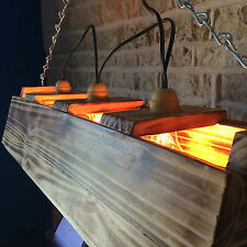 Luminaire Plafonnier Suspension Fait à la Main Unique en Bois Brûlé Abstrait