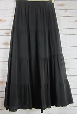 BERN CONRAD Womens Black 100% Silk Tiered Long Maxi Skirt Boho Hippie Medium M