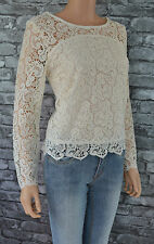 New Women's Elegant 3/4 Sleeved Cream Round-Neck Lace Top Blouse Uk Size 16
