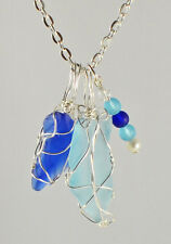 "Genuine Maine Sea Glass Pendant with 20"" Silver plated chain"