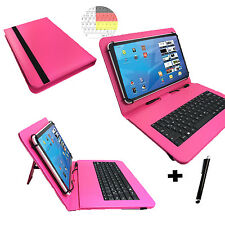 10.1 zoll Qwertz Tablet Tasche Acer Iconia A500 Hülle Etui - Tastatur Pink 10
