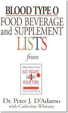 Blood Type O Food Beverage and Supplement List Pocketbook Peter D'Adamo WT46769