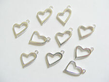 10 Metal Silver Colour Open Heart Charms/Pendants - 20mm