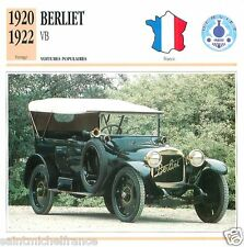 BERLIET VB 1920 1922 CAR VOITURE FRANCE CARTE CARD FICHE