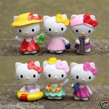 6pcs/set New Hello kitty Action Figure Summer Scene KT Cat Figurines Toy Gift