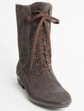 New Donna Serena Brown Suede Lace-Up and Zipper Made in Italy Boots Size 39 US 9