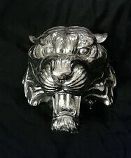 Chrome Tiger Head Wall Art Plaque Sculpture Man Cave Jungle Statue Figure Beast