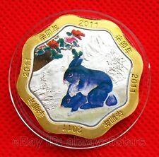 2011 Chinese Lunar Zodiac Rabbit Bi-Metallic Colored Flower Shaped Coin Token #4
