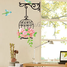 Flower & Bird Cage Removable Vinyl Decal Art Mural Home Decor Room Wall Stickers