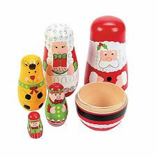 SANTA FAMILY NESTING DOLLS 5 PIECES ELVES MRS. CLAUS REINDEER CHRISTMAS NIP