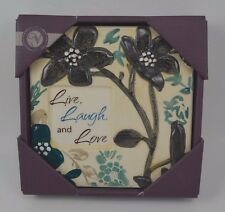 """LIVE LAUGH LOVE CERAMIC WALL PLAQUE 6"""" FLOWER IVORY GREEN"""