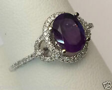 White Gold Oval Halo Vintage Genuin Amethyst Diamonds Engagement Wedding Ring