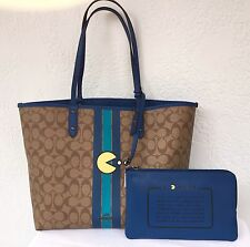 NWT COACH PAC-MAN REVERSIBLE LIMITED EDITION CITY TOTE BAG + POUCH