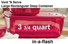 Tupperware New VENT N SERVE LARGE DEEP RECTANGULAR CONTAINER Red 3 3/4 Quart