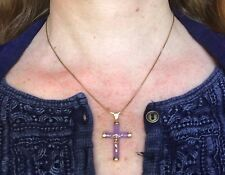 14k Yellow Gold Lavender Jade Cross Pendant.  Lovely Purple Color