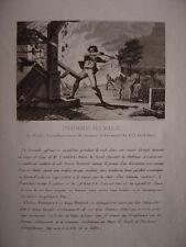 Gravure de PIERRE BAZILE de Neuil Saumur Incendie  Charles Poinquet  René Drouet