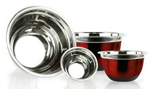 4 Pc Red Brushed Stainless Steel Mixing Bowls w/ Silicone Bottoms