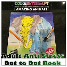 ADULT DOT TO DOT AMAZING ANIMAL COLOURING COLOUR THERAPY ANTI STRESS BOOK
