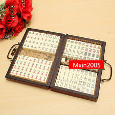 Mini 144 Bamboo Mah-Jong Set Portable Retro Chinese Mahjong Rare Piece W/Box