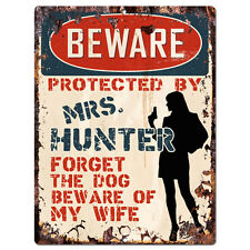 PPBW 0153 Beware Protected by MRS. HUNTER Rustic Tin Sign Funny Gift Ideas