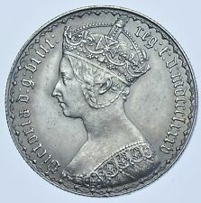 1885 GOTHIC FLORIN BRITISH SILVER COIN FROM VICTORIA EF