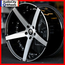 "20"" MQ 3226 WHEELS BLACK MACHINED FACE STAGGERED RIMS AND TIRES PKG"