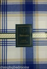 BLUE BEIGE LISBON CHECK 66 X 54 READY MADE TAPE TOP CURTAINS WITH TIE BACKS