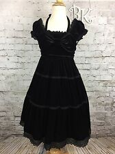 Baby The Stars Shine Bright Black Velvet Gothic Lolita Ruffle Bow Dress RARE!