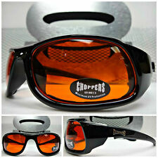 BIKER MOTORCYCLE CHOPPERS PADDED RIDING Black SUN GLASSES GOGGLES Orange Lens