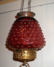 Victorian Era CRANBERRY GLASS HOBNAIL Hanging Shade + Lamp Parts